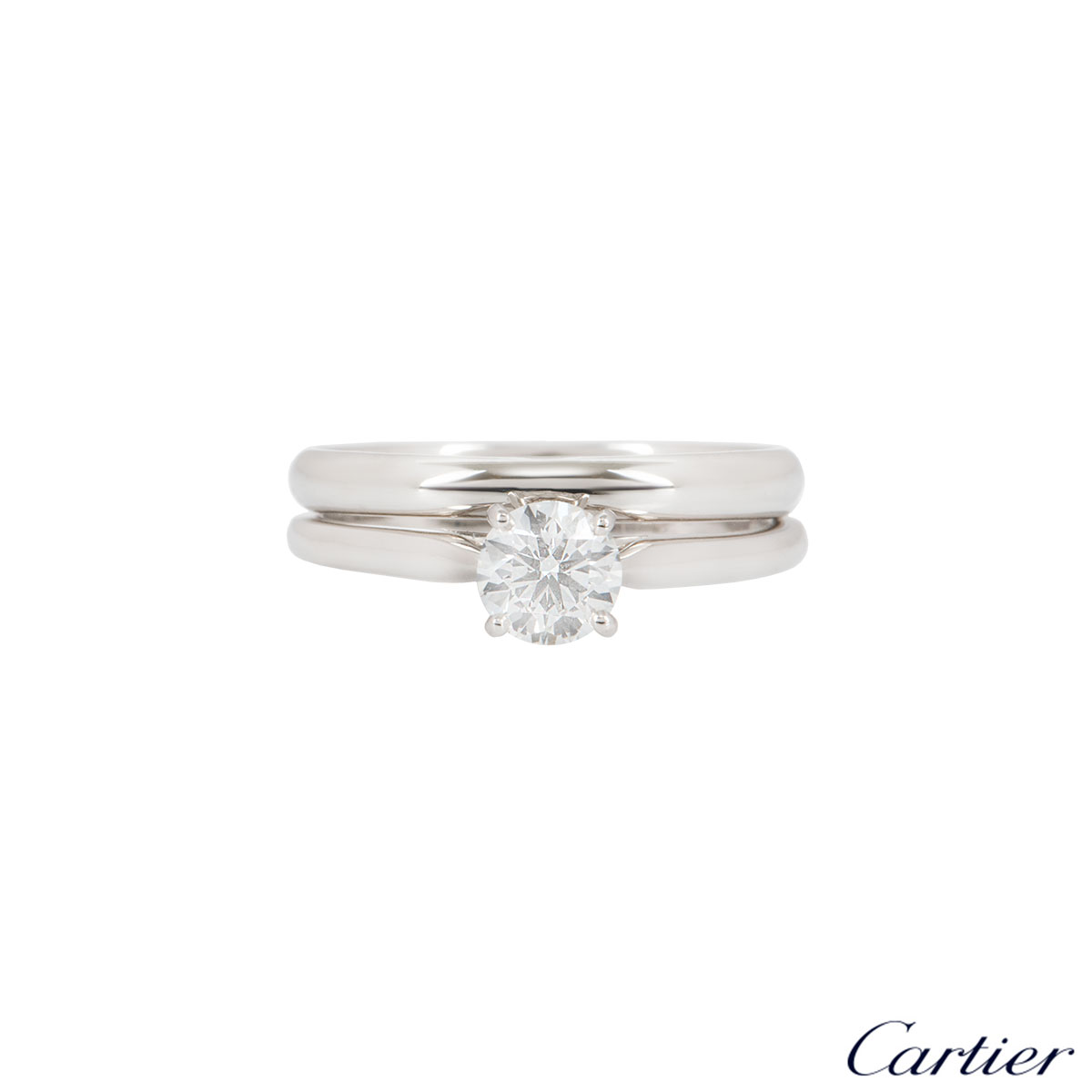 Cartier Platinum Diamond 1895 Solitaire Ring 0.50ct G/VS1 With Plain Wedding Band